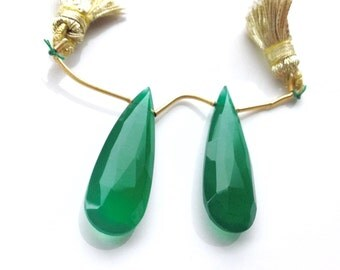 Faceted Elongated Green Onyx Briolette Pair