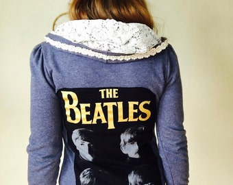The Beatles Lace Crochet Festival Hoodie Hooded OOAK Sweater Hood Upcycled Sweatshirt Size Small