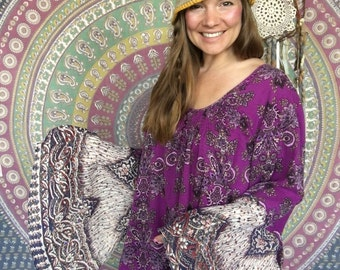 Purple Bohemian Print Floral Bell Sleeve Babydoll Blouse Size 2XL
