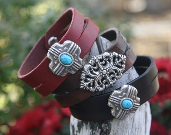 Split Leather Bracelet with Concho