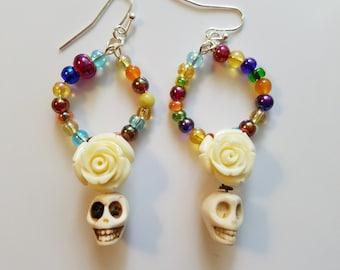 Multicolored Glass Bead Skull & Rose Earrings *Free Shipping*