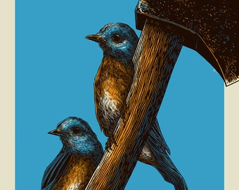 Bluebirds and Axe | 16x20 Art Print