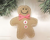 Wool Felt Gingerbread Man Ornament Christmas Decoration Handmade from Felted Wool Sweaters no720