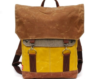 Tall Boy Waxed Canvas Backpack with Padded Straps / Cashmere Recycled Wool & Oiled Leather