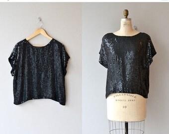 25% OFF SALE Italo sequin tunic | vintage sequin tunic | 1980s black sequin top