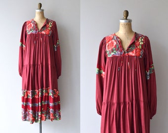 Rose of India dress | vintage 1970s india dress | floral 70s festival dress