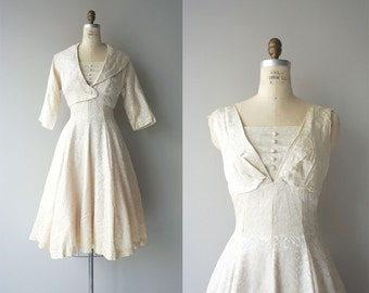Rosaline dress  and jacket | vintage 1950s dress | cream damask 50s dress and jacket