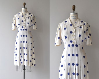 Lindy Dot dress | vintage 1940s dress | polka dot 40s dress