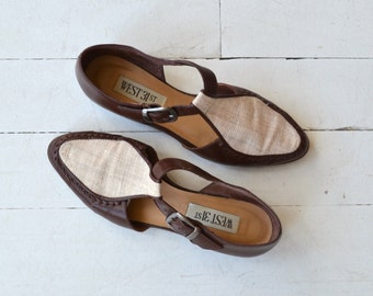 Linen and Leather T-straps | vintage 1980s t-strap loafers | leather 80s side buckle shoes 6.5