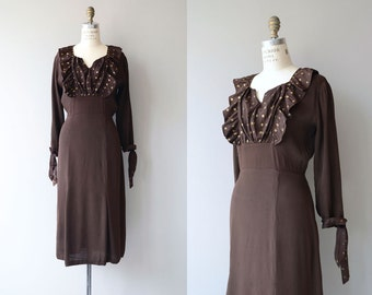 Entr'acte dress | vintage 1930s dress | rayon crepe 30s dress