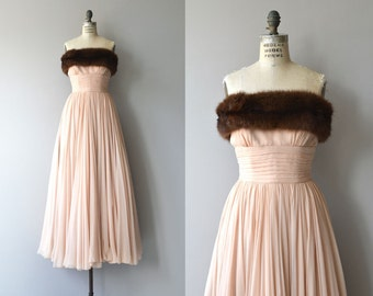 Balletomane chiffon gown | vintage 1950s silk chiffon dress | mink trimmed 50s silk dress