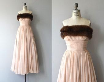 Balletomane chiffon gown | vintage 1950s silk chiffon dress | mink trimmed 50s silk dress