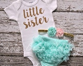 NEW Baby Girl Take Home Outfit Newborn Little Sister Bodysuit Mint Bloomers Gold Pink Headband Lola Bean Clothing Going Home Outfit