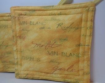 Pot Holders Set of 2 Wine Vino Fabric