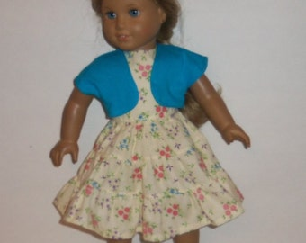 18 inch Doll, Ruffled Dress, Sleeveless, Floral, Party, Blue, Shrug, Bolero,  Special Occasion, American Made, Girl Doll Clothes
