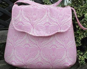 Pink And White Shoulder Bag , Tula Pink Shoulder Bag , Eden , Boho Shoulder Bag