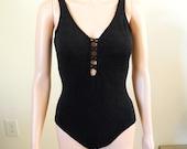 Vintage 1980s swimsuit, one piece, black, faux lace-up front, floral, size 10