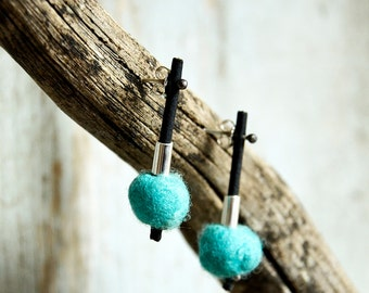 Light blue Silver Sterling Silver Modern earrings  hand crafted Felt and silver earrings dangle Earrings for Pierced ears