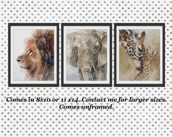 Safari Nursery Art Nursery Prints Baby Animal Prints Childrens Art Boys Room Wall Art Girls Room Watercolors 3 Elephant Giraffe Lion dp