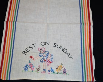 Vintage Kitchen Linen 'Rest on Sunday' 1950's