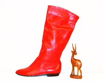 Vintage Boots Red Leather