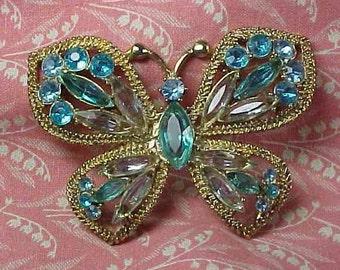Vintage Butterfly Rhinestone Gold tone Brooch pin