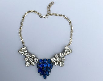 White Enamel & Rhinestone Statement Necklace -Heirloom Collection