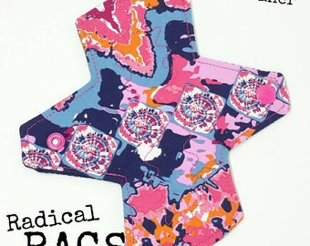 """Kaleidoscope of Love 6"""" Slim Cloth Liner,  Pink and Blue Cotton Cloth Pad, 2.5"""" Wide"""