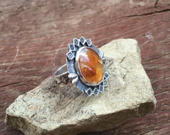 Orange Agate statement ring, orange stone sterling silver ring, embellished silver orange agate ring