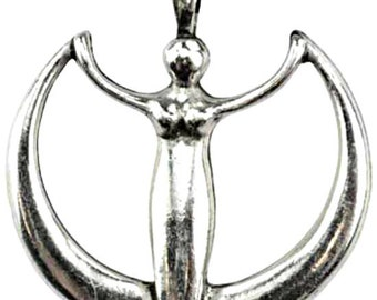 Goddess Crescent Moon Amulet Pendant charm antiqued pewter