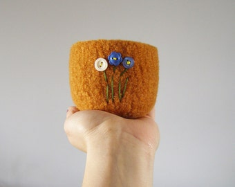 orange felted bowl - catch-all desk organizer - felted wool bowl with embroidered flower buttons -  gifts for crafters - gifts under 20