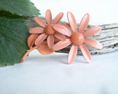 Vintage Enamel Flower Brooch Layered Coral Pink Double Daisy Beautiful Color 1960s Jewelry Collectible Estate Jewelry