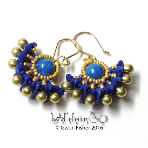 Solstice Beaded Earrings Egyptian Lapis Blue Gold Filled Wire