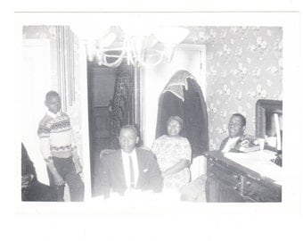 vintage photo Black Family Get Together Home Interior African American snapshot 1940s 50s