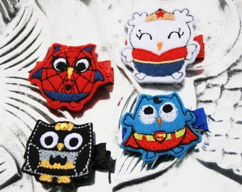 Owl Be Your Hero Clippie, Your Choice of Hero Inspired Owl Hair Clip, Snap Clip