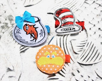 SALE--Simply Seussical Clippie, Your Choice of One Dr. Seuss Themed Hair Clip