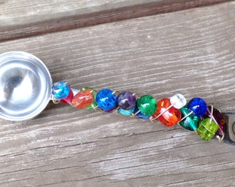 Beaded Coffee Scoop - Tea Scoop - Glass Beaded Coffee Scoop - Wire Wrapped Scoop - Beaded Serving Utensils - Hostess Gift - Bridal Gift