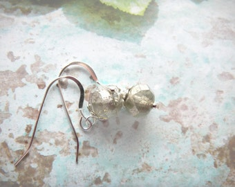 Silvered Mercury Czech Earrings