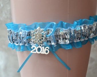 Turquoise Prom Garter -Silver/Turquoise Prom Garter-Prom Garter-Garters-2017 Charm Prom Garter-Garter belt-Prom