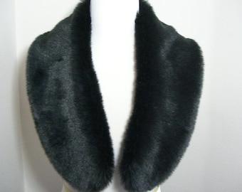 Faux Fur COLLAR,  Women's Fur Neckwarmer, Fur Collar, Black Rabbit Faux Fur Collar