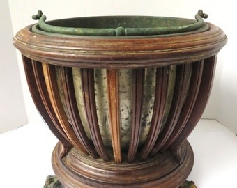 Antique Victorian Edwardian Regency Mahogany Planter/Ice Bucket Copper Metal Insert