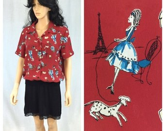 Vintage Red Short Sleeve Paris Themed Blouse. Eiffel Tower. Woman with Poodle Dog Pattern. Large. Lauren Lee. Whimsical Pattern Blouse. 1980