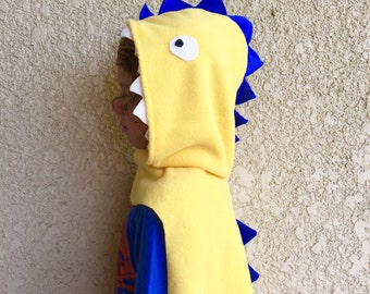 Dinosaur Costume, Kids Halloween Costume, Yellow Dinosaur Cape, Dragon Cape, Pretend Play Costume