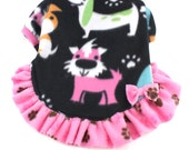 Dog Fleece Sweater Dresses with Happy Puppy print