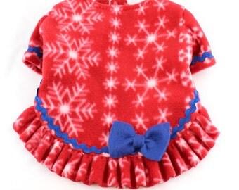 Dog Fleece Sweaters Red Snowflake print