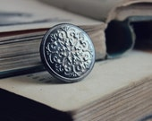 The Kells Ring. Romantic Bohemian Fairytale Antiqued Silver Locket Medallion Shield Ring.
