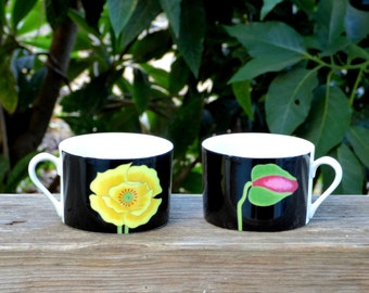 Pair of Miyako Japanese Porcelain Coffee Can Cups: Taste Setters by Sigma 421, Black w/ Bright Yellow Flower, Green Pink Bud - 4 Pairs Avail