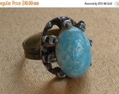 On Sale Pretty Vintage Robin Egg Blue Adjustable Ring, Silver tone, Listing #118