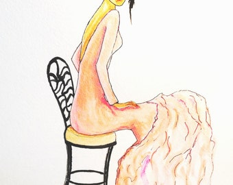 Bridal Gift-Fashion Gift-Art-Bride in Wrought Iron Chair