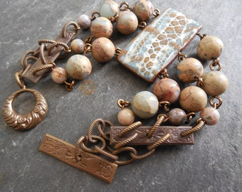 Ceramic and Stone Triple Strand Bracelet